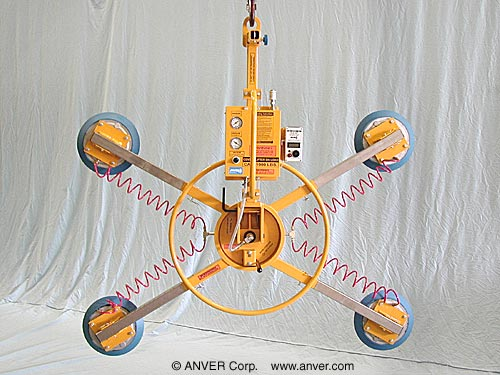 ANVER Four Pad Air Powered Multi-Configuration Vacuum Lifter with Manual Rotation and Tilt