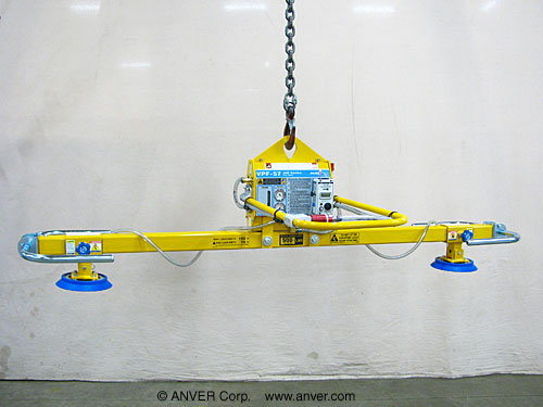 ANVER Electric Powered Vacuum Generator with Two Pad Lifting Frame for Lifting & Handling Steel Sheet 12 ft x 6 ft (3.7 m x 1.8 m) up to 1000 lbs (454 kg)