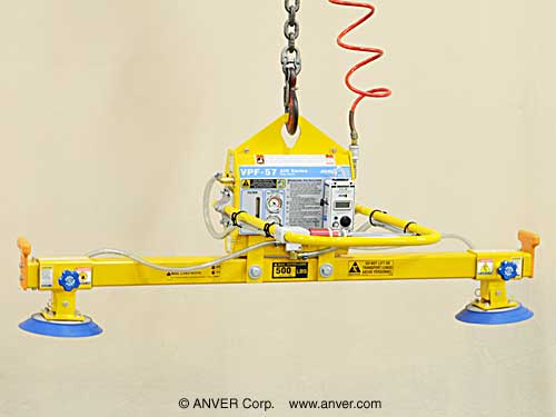 ANVER Electric Powered Vacuum Generator with Two Pad Lifting Frame Assembly for Lifting & Handling Steel Sheet 8 ft x 6 ft (2.4 m x 1.8 m) up to 1000 lb (454 kg)