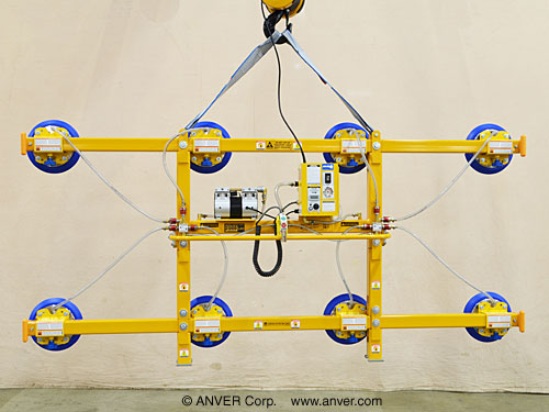 ANVER Twelve Pad Air Powered Vertical Vacuum Lifter for Lifting Glass Panes