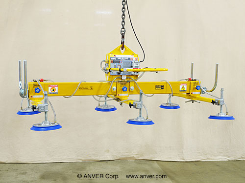 ANVER Six Pad Electric Powered Vacuum Lifter for Lifting Steel Sheets 10 ft x 6 ft (3.1 m x 1.8 m) up to 3000 lb (1361 kg)
