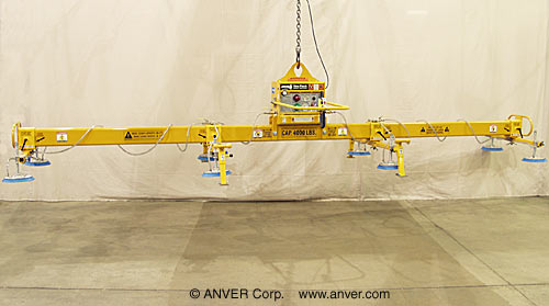 ANVER Eight Pad Electric Powered Vacuum Lifter for Lifting & Handling Steel Sheet and Plate 25 ft x 8 ft (7.6 m x 2.4 m) up to 4000 lb (1814 kg)