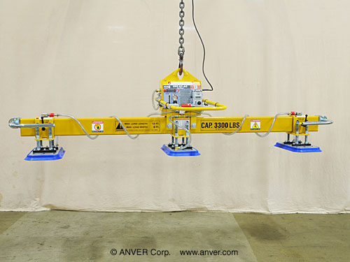 ANVER Three Pad Electric Powered Vacuum Lifter for Lifting Steel Sheets, 10 ft x 6 ft (3.0 m x 1.8 m) up to 3000 lb (1361 kg)