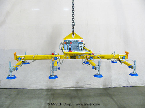 ANVER Eight Pad Electric Powered Vacuum Lifter for Lifting Steel Sheets 12 ft x 6 ft (3.7 m x 1.8 m) up to 1200 lb (544 kg)