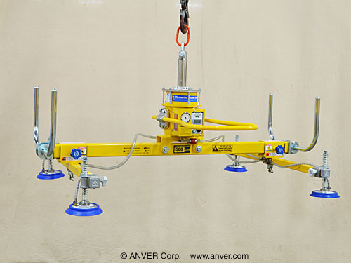ANVER Four Pad Self-Powered Mechanical Vacuum Lifter with Adjustable Pivoting Crossarms