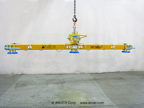 ANVER Three Pad Inline Self-Powered Mechanical Vacuum Lifter for Handling Steel Sheets 16 ft x 6 ft (4.9 m x 1.8 m) up to 1500 lb (680 kg)