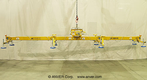 ANVER Eight Pad Self-Powered Mechanical Vacuum Lifter for Lifting & Handling Steel Sheets 25  ft x 8 ft (7.6 m x 2.4 m) up to 4000 lb (1814 kg)