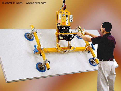Panel Lifting Devices : Powered vacuum lifter tilter picks up panels without hooks