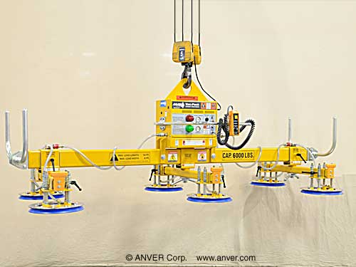 ANVER Six Pad Electric Powered Lifter for Lifting & Handling Steel Sheets 14 ft x 8 ft (4.3 m x 2.4 m) up to 6000 lbs (2722 kg)