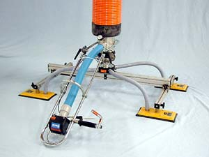 VT250-4.0-7.5 Vacuum Tube Lifting System with Four-Pad Attachment, Swivel Adapter, and Release Assist Valve for Lifting and Stacking Cardboard Cartons weighing up to 300 lb (136 kg)