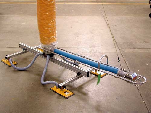 Vacuum Tube Lifting System with Four-Pad Attachment and Extended Length Handle