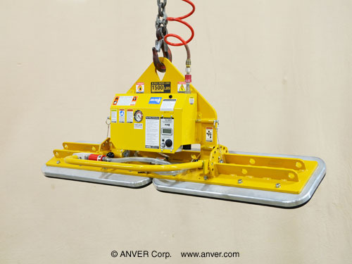 ANVER Two Pad Air Powered Vacuum Lifter with Foam Pads and Gravity Tilt for Lifting Stone Slabs 8 ft x 4 ft (2.4 m x 1.2 m) up to 1500 lb (680 kg)
