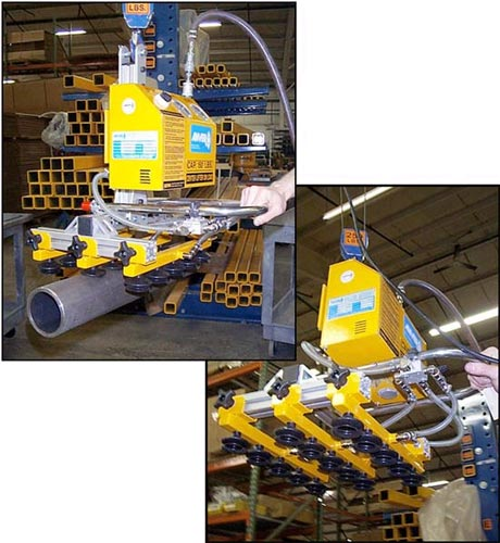 ANVER Custom Air Powered Vacuum Lifter with 15 Bellows Vacuum Cups for Handling up to three pipes with diameters varying from 3 in. to 4.5 in. (76 mm to 114 mm) weighing up to 150 lb (66 kg)