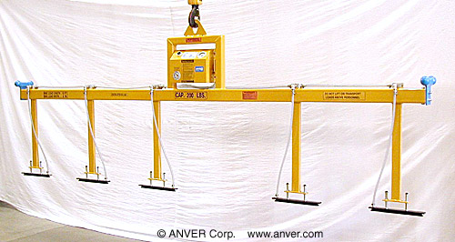"ANVER Five Pad Air Powered Vacuum Lifter for Lifting & Handling Copper Bus Bars 2"" to 6"" (51 mm to 152 mm) wide x 12 ft (3.7 m) long up to 200 lbs (91 kg)"