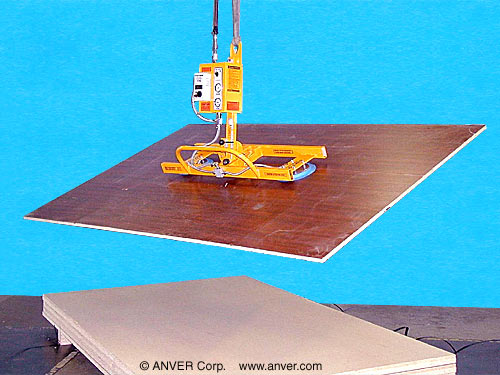 ANVER Two Pad Air Powered Vacuum Lifter with Manual Tilt and Rotation for Lifting Plywood Boards 12 ft x 4 ft (3.7 m x 1.2 m) up to 250 lb (113 kg)