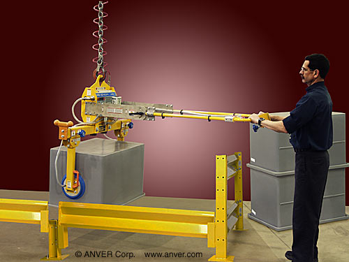ANVER Two Pad Air Powered Side Gripping Custom Vacuum Lifter for Lifting & Handling Enclosures up to 250 lbs (113 kg)