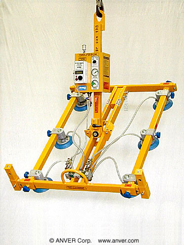 ANVER Six Pad Air Powered Vacuum Lifter with Manual Tilt and Rotate
