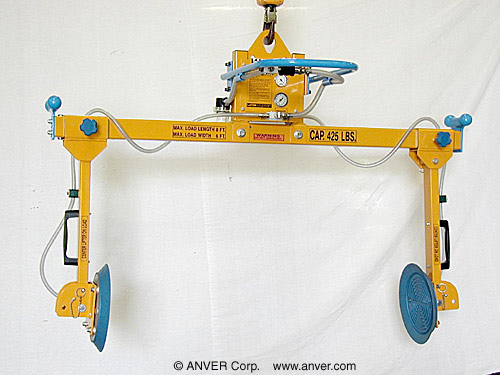 ANVER Two Pad Air Powered Side Gripping Custom Vacuum Lifter for Lifting Safes, 8 ft x 6 ft (2.4 m x 1.6 m) up to 500 lb (227 kg)
