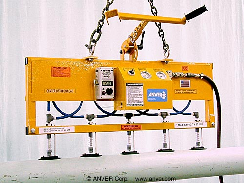 ANVER Five Pad Powered Vacuum Lifter with Custom Frame for Glass Tubes 120 mm diameter x 1.6 m long up to 50 lb (23 kg)