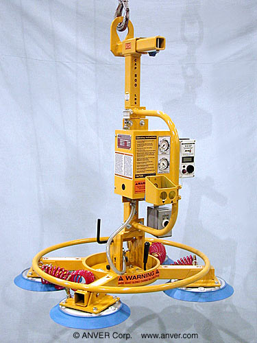 ANVER Four Pad Air Powered Multi-Configuration Vacuum Lifter with Manual Rotation and Tilt for Lifting & Tilting Glass Panels weighing up to 800 lb (363 kg)