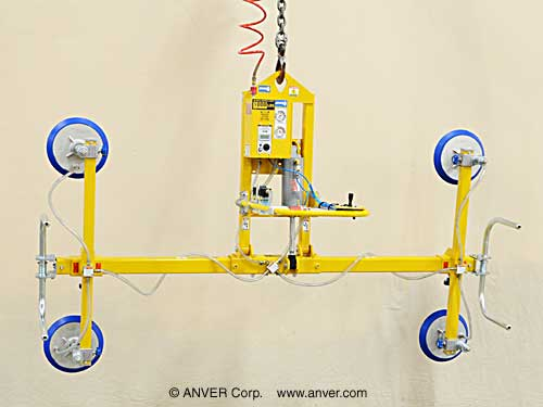 ANVER Four Pad Electric Lifter with Powered Tilt for Lifting Stone Slabs 12 ft x 6 ft (3.7 m x 1.8 m) up to 1000 lb (454 kg)
