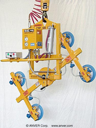 ANVER Four Pad Air Powered Vacuum Lifter with Powered Tilt and Manual Rotate