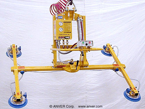 ANVER Four Pad Air Powered Vacuum Lifter with Powered Tilt and Manual Rotate for Lifting Glass Sheets 10 ft x 6 ft (3.1 m x 1.8 m) up to 500 lb (227 kg)