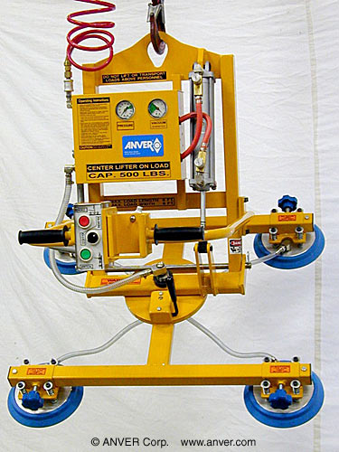 Air Powered Vacuum Lifter with Powered Tilter and Manual Rotation for Glass Handling