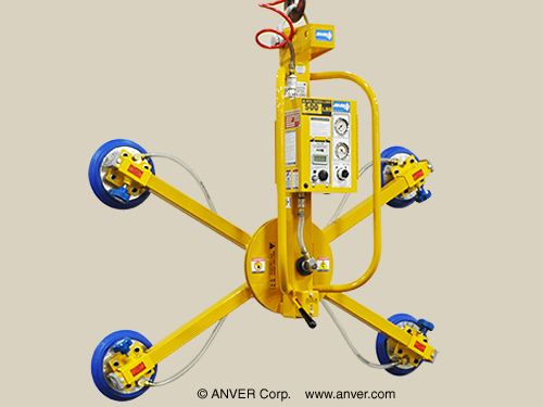 "ANVER Four Pad Air Powered Vertical Lifter with Manual Rotate for Lifting & Handling Glass Plates 80"" x 48"" (2.0 m x 1.2 m) x 1"" thick, up to 500 lb (227 kg)"