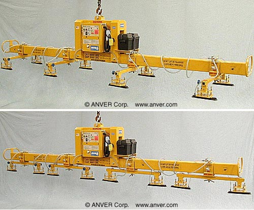 ANVER Eight Pad Battery Powered Vacuum Lifter with Special Oval Pads for Steel Sheets 22 ft x 8 ft (6.7 m x 2.4 m) up to 400 lb (181 kg)