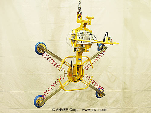 ANVER Four Pad Battery Powered Vacuum Lifter with Manual Tilt and Rotate