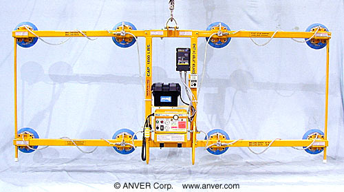 ANVER Eight Pad Battery Powered Vertical Lifter with Custom Frame for Lifting & Handling Glass Plate 17 ft x 11 ft (5.2 m x 3.4 m) up to 1800 lb (817 kg)