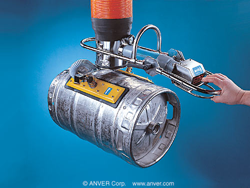 ANVER Standard VT Vacuum Tube Lift System with Cylindrical Load Lifting Vacuum Pad Attachment