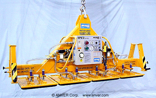 ANVER Four Pad Electric Powered Heavy Duty Vacuum Lifter with Fixed High Capacity Foam Vacuum Pads for Lifting & Handling Limestone Blocks 12 ft x 6 ft (3.7 m x 1.8 m) up to 10,ooo lb (4636 kg)