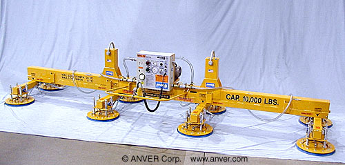 ANVER Eight Pad Electric Powered Heavy Duty Lifter wit Dual Pick Points for Lifting & Handling Steel Sheet 20 ft x 8 ft (6.1 m x 2.4 m) up to 10,000 lb (4536 kg)