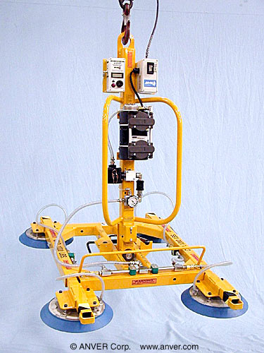 ANVER Four Pad Electric Powered Vacuum Lifter with 90° Tilt, 180° Manual Rotate and Collapsible Frame