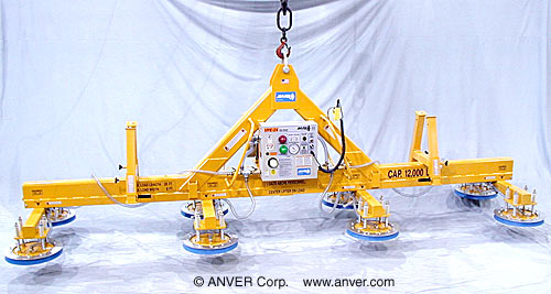 """ANVER Eight Pad Electric Powered Lifter with Heavy Duty """"A"""" Frame for Lifting & Handling Aluminum Sheet 20 ft x 8 ft (6.1 m x 2.4 m) up to 12,000 lb (5443 kg)"""