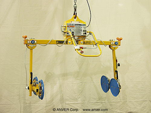 ANVER Two Pad Electric Powered Side Gripping Vacuum Lifter for Lifting & Handling Metal Cabinets 5 ft x 4 ft (1.5 m x 1.2 m) up to 1200 lbs (544 kg)