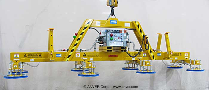 ANVER Eight Pad Electric Powered Heavy Duty Lifter for Lifting & Handling Steel Sheets & Plates 18.3 ft x 8 ft (5.6 m x 2.4 m) Weighing up to 12,400 lb (5,625 kg)