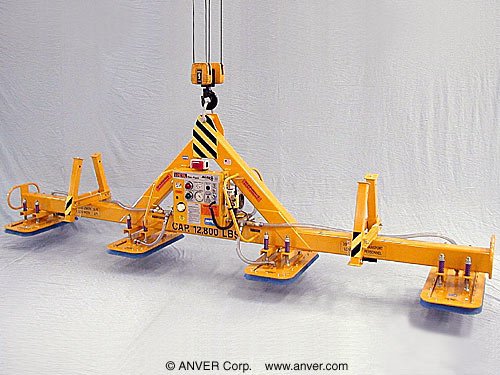 ANVER Four Pad Electric Powered Heavy Duty Vacuum Lifter with Fixed High Capacity Rectangular Vacuum Pads