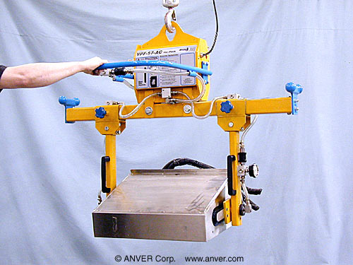 ANVER Two Pad Electric Powered Side Gripping Vacuum Lifter with Manual Rotation for Lifting & Handling Small Electrical Enclosures up to 150 lb (68 kg)