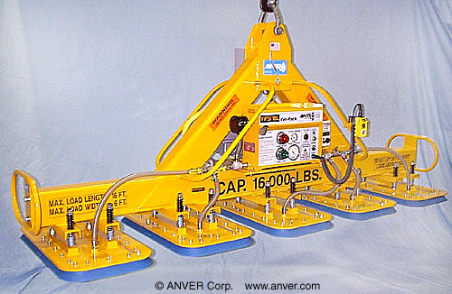 ANVER Five Pad Electric Powered Vacuum Lifter for Lifting Steel Plate 16 ft x 6 ft (4.9 m x 1.8 m) up to 16000 lb (7258 kg)