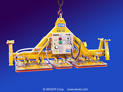 ANVER Five Pad Custom Electric Powered Lifter with Silicone Sealing Rings for Lifting & Handling Lead Plates 12 ft x 8 ft (3.6 m x 2.4 m) up to 16000 lb (7258 kg)