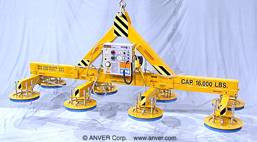 ANVER Eight Pad Electric Powered Heavy Duty Lifter for Lifting & Handling Steel Sheet 16 ft x 8 ft (4.9 m x 2.4 m) up to 16,000 lb (7257 kg)