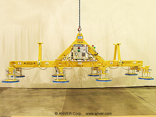 ANVER Eight Pad Electric Powered Heavy Duty Lifter for Lifting & Handling Steel Sheet 20 ft x 10 ft (6.2 m x 3.1 m) up to 16,000 lb (7257 kg)