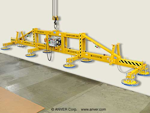 ANVER Eight Pad Electric Powered Lifter for Lifting & Handling Steel Plate 40 ft x 10 ft (12.3 m x 3.1 m) up to 18,400 lbs (8346 kg)