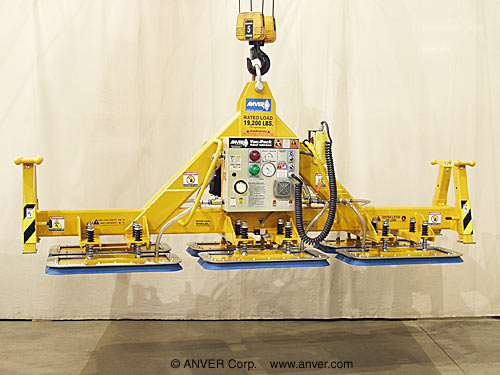 ANVER Six Pad Electric Powered Heavy Duty Vacuum Lifter with Fixed High Capacity Rectangular Vacuum Pads for Lifting & Handling Aluminum Plate 12 ft x 6 ft (3.7 m x 1.8 m) up to 19,200 lbs (8709 kg)