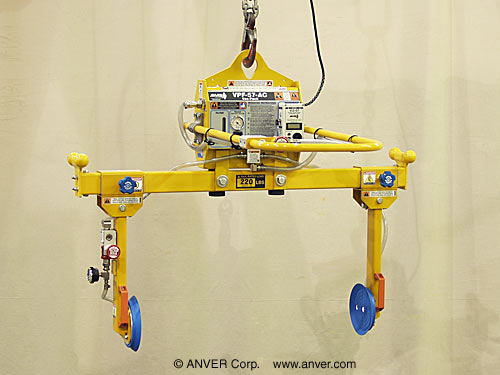 ANVER Electric Powered Two Pad Side Gripping Vacuum Lifter for Lifting & Handling Metal Enclosures up to 220 lb (100 kg)