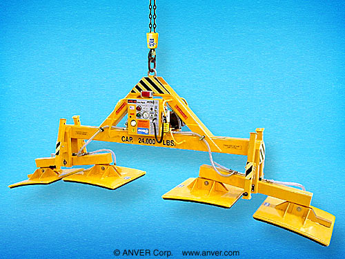 ANVER Four Pad Electric Powered Vacuum Lifter with Custom Foam Pads for Concrete Tunnel Sections up to 24,000 lb (10,886 kg)