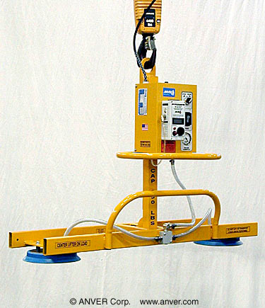 ANVER Two Pad Electric Powered Vacuum Lifter with Manual Tilt for Lifting Glass Sheets